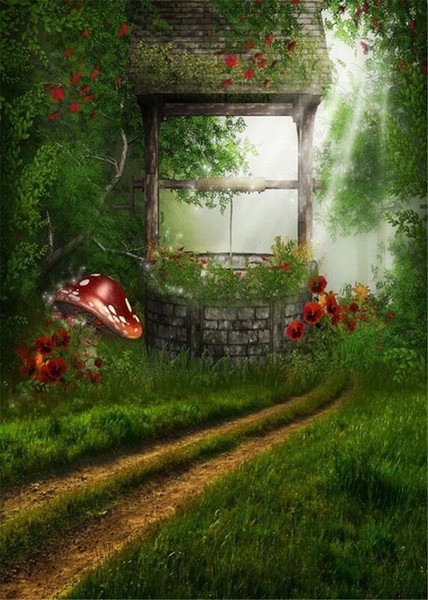 Forest Fairy Land Spring Scenic Photo Backdrop Printed Mushrooms Flowers Sunshine Old Well Kids Birthday Party Photography Backgrounds