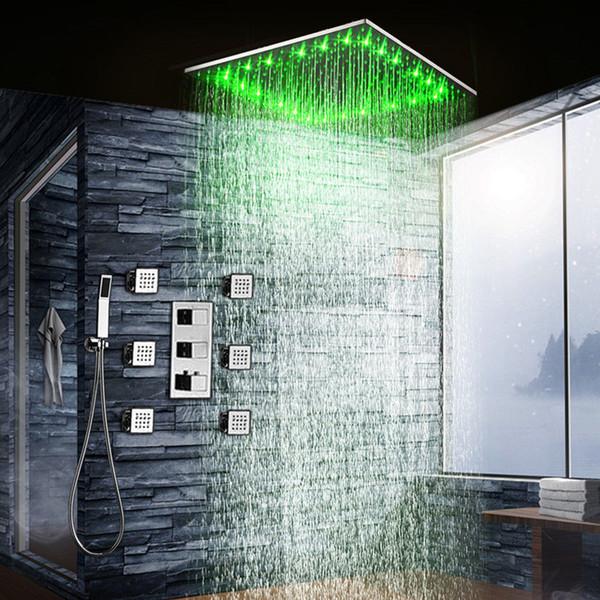 "16"" Nickel Brushed LED Shower Head Brass Thermostatic Mixer Valve W/ 6pcs Massage Jet Bathroom Faucet Set"