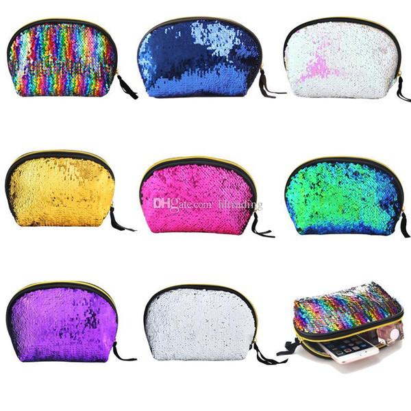 Meerjungfrau Pailletten Kosmetiktasche Glitter Make-up Geldbörse Bankett Bling Aufbewahrungsbeutel Toggle Verfärbung Shell Handtasche C4495