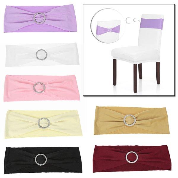 Spandex Stretch Chair Cover Sashes Bows Elastic Chair Bands With Buckle Slider Sashes Bows 50pcs/lot 3Colors Wedding Banquet Party Decor