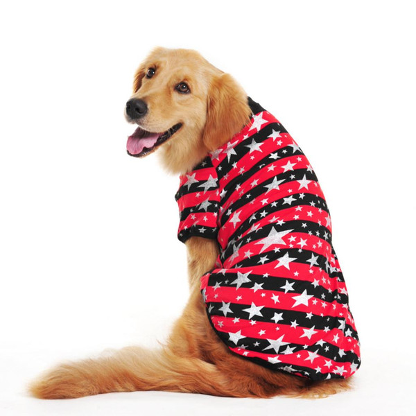 New 100 %Cotton Large Dog T -Shirt Striped Star Printing Clothes Coat Shirt Vest For Big Dogs Size S -Xl
