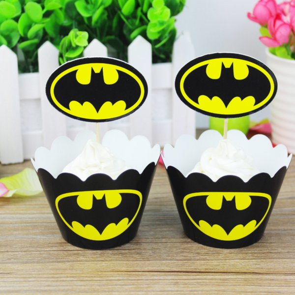 24 Pcs/lot Bat Cupcake Wrappers Toppers Picks Decorations for Boys Kids Birthday Party Favors Supplies Comic Superhero