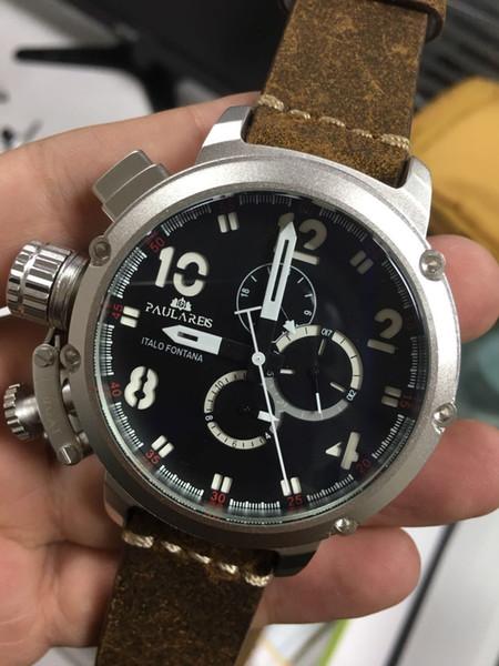 Новый автоматический механические мужские U хронометр U1001 часы U-51 Химера серебро возрасте коричневый кожа коровы лодка часы черное золото