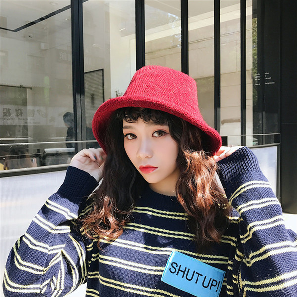 Winter Hats For Women High Quality Red Black Knitted Hats Women Knitted Winter Buckets Elegant Vintage Lady Accessory