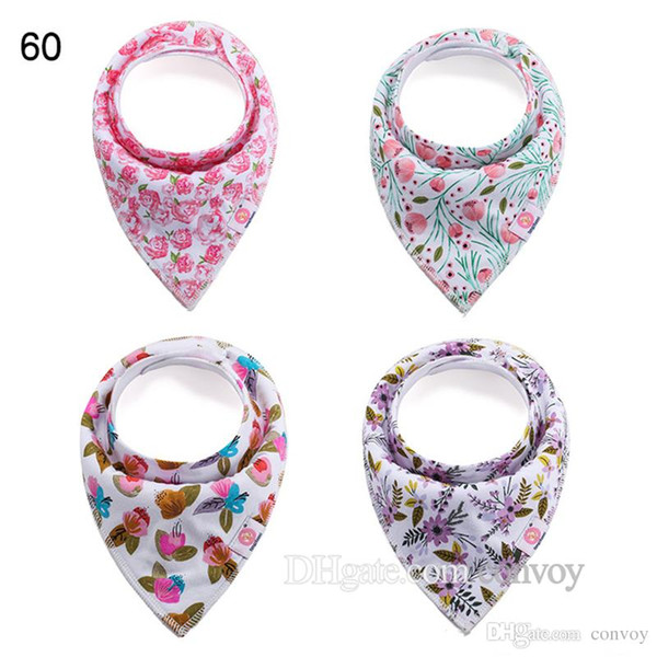 4pcs/set baby floral bibs Burp Cloths new infants girls boys double layer Pure cotton waterproof s Bandana Bib KSF11