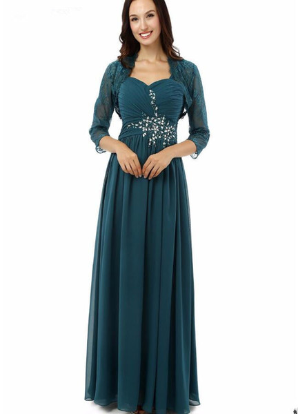 Sheath New Chiffon Floor Length Mother Of The Bride Dresses with Jacket Turquoise Lace Long Crystal Party Evening Gowns Pleated Fashion