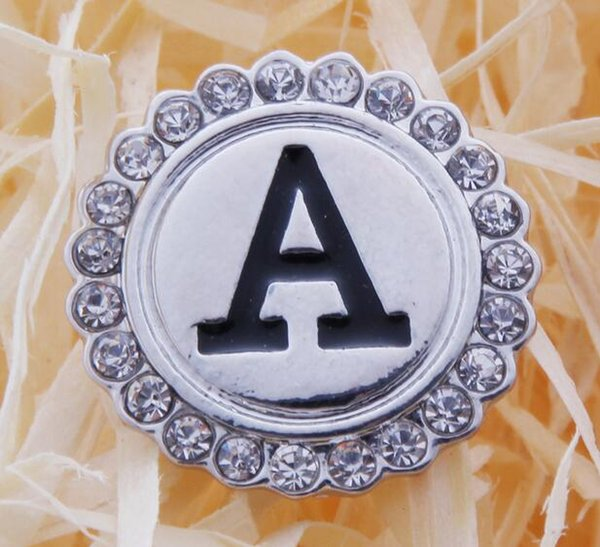 2pcs/lot Initial A-S Greek Letters Alphabet Snap Jewelry Metal Crystal 18mm Snap Button Fit Bracelet Mixture