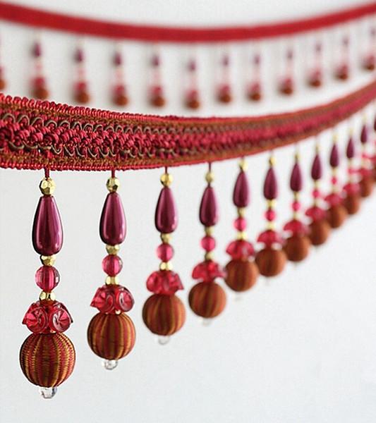 12 Mètre De Perle De Fleur Perle Tassel Pendentif Suspendu Dentelle Garniture Ruban Pour Fenêtre Rideaux De Fête De Mariage Décorer À Coudre DIY