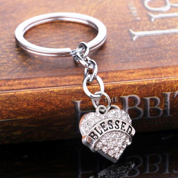 12PC / Lot Cristal Exquis Strass Amour Coeur Charmes Porte-clés Heureux Porte-clés Femmes Hommes Famille Porte-clés Anneaux Titulaire Cadeaux