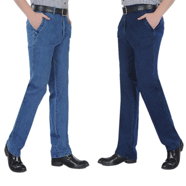 High quality Middle-aged Denim Jeans Casual Middle Waist Loose Long Pants Male Solid Straight Jeans For Men Big Size 40 42