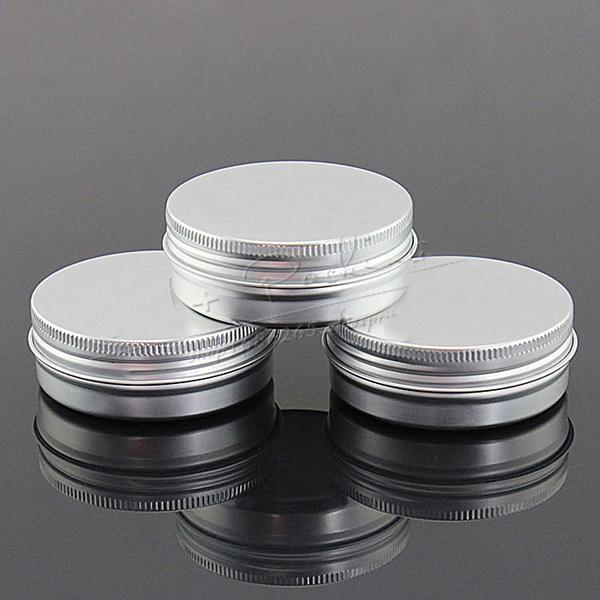 EMS 500pcs / Kapasitesi 60 g (38 * 25 mm) bir vida dişi ile yüksek kaliteli alüminyum kozmetik kaplar