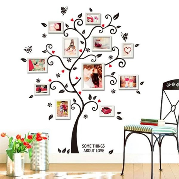 Family Photo Frames Tree Wall Sticker Butterfly Stickers Living Room Bedroom Art Murals Wall Decals DIY Wallpaper For Home Decor