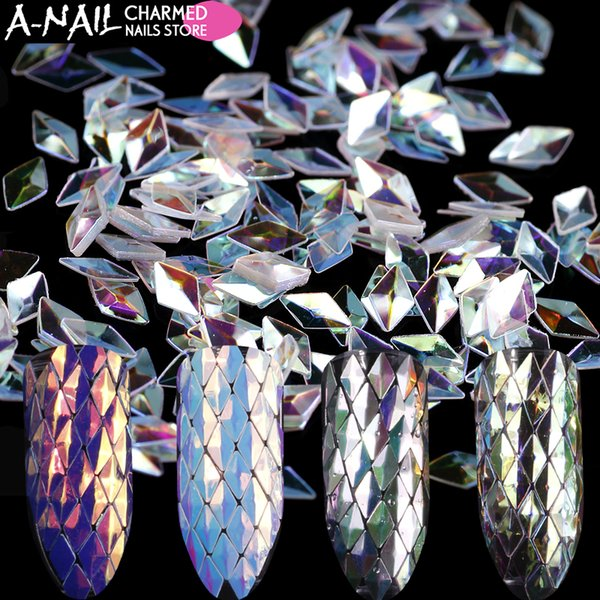 12 Boîtes / ensemble Licorne Rhombus Nail Glitter Paillettes Paillette AB Couleur Acrylique Nail Conseils UV Gel Polonais Pour Ongles Art Décoration Outil
