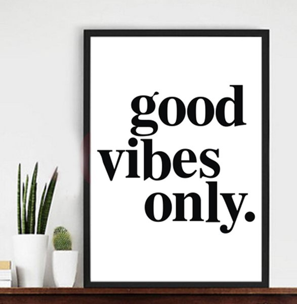 Good Vibes Only Moderno Stampa Lettere Poster Arte Murale Immagine Lk /_ Hk