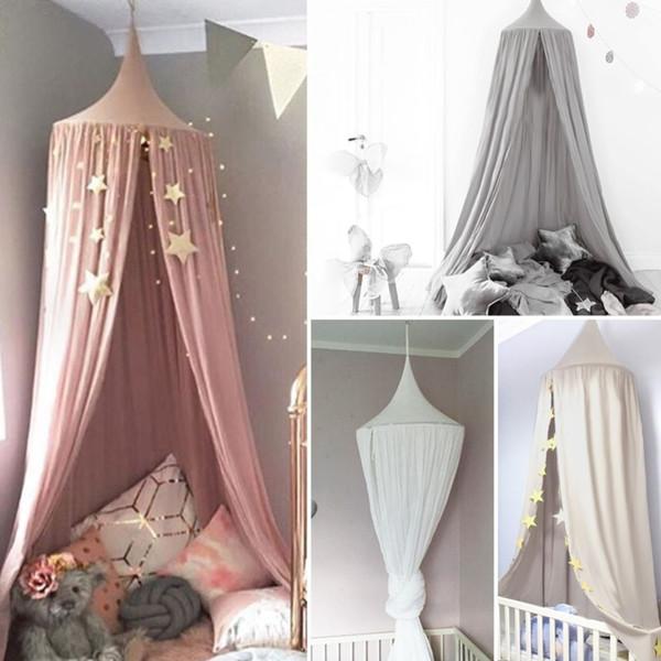 Weiß Grau Rosa Jungen Mädchen Kinder Prinzessin Baldachin Bett Volant  Kinder Zimmer Dekoration Baby Bett Runde