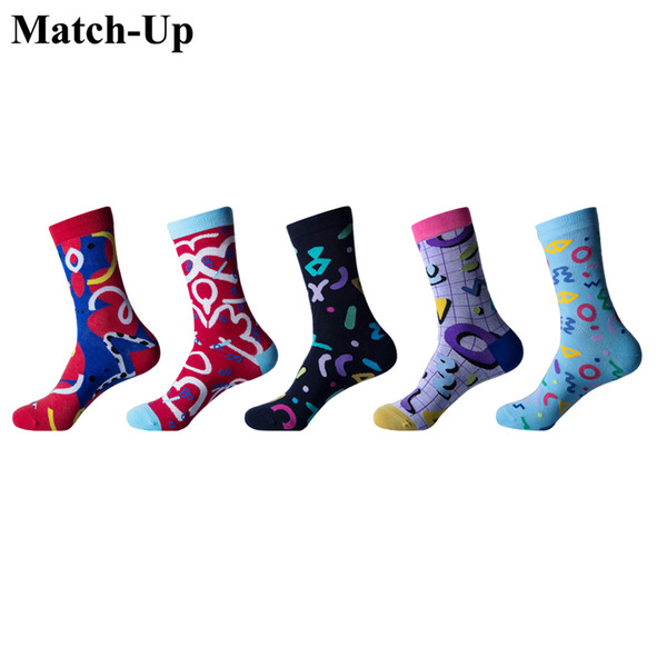 Match-Up Chaussettes Homme Code moyen Chaussettes Funny Cat Cat Hip-hop Cool pour chaussettes en coton multicolores