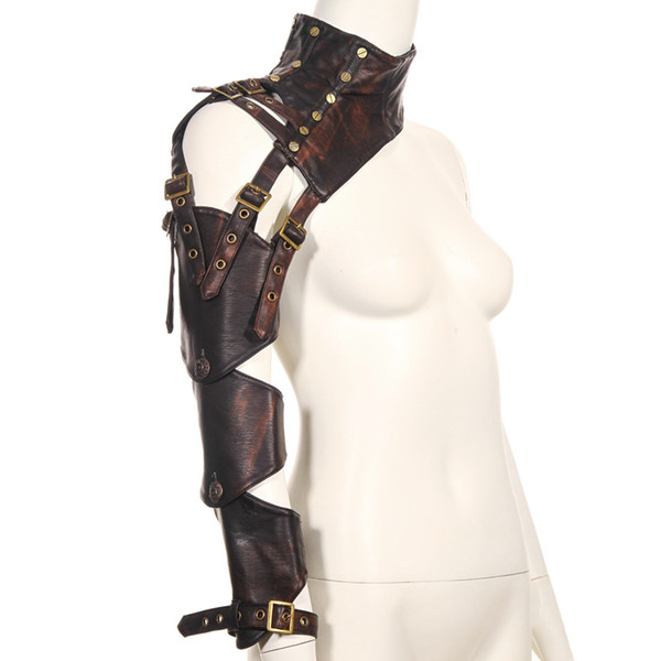 Brown PU Leather Changeable Sleeve Steampunk Arm Sheath One Shoulder Vintage Armor Arm Warmer Cosplay Corset Costume Accessories