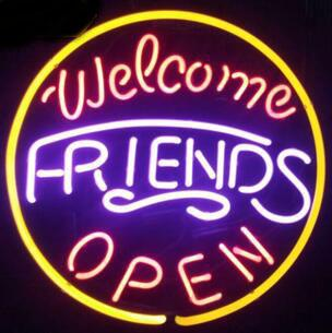 Welcome Friends glass tube Neon Light Sign Home Beer Bar Pub Recreation Room Lights Windows Glass Wall Signs 16*16 inches