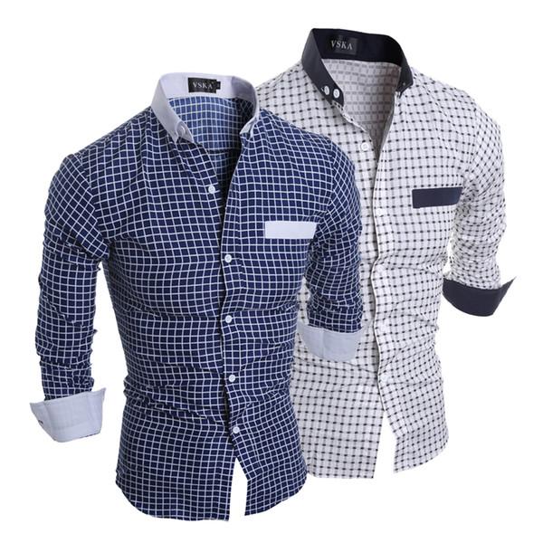 2018 Fashion Luxury Mens Stylish Slim Fit Shirt Plaid Men Dress Slim Fit Cotton Long Sleeve Formal Casual Social Plus Size Shirt