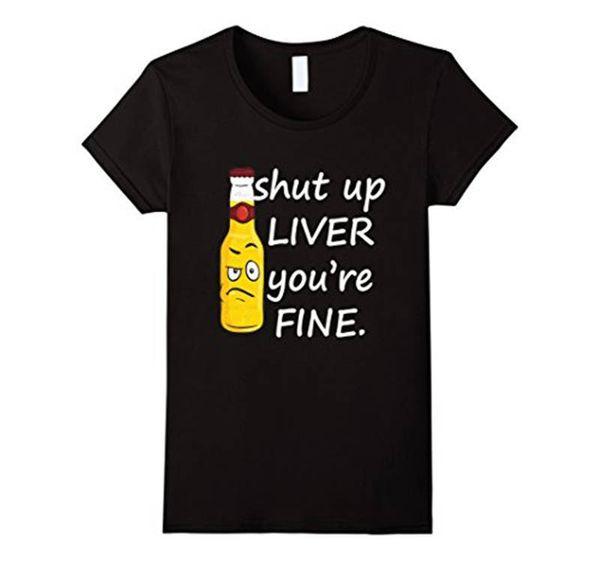 Print Own T Shirt Rundhals geschlossen Liver Youre Fine Kurzarm hoch Herren T-Shirt
