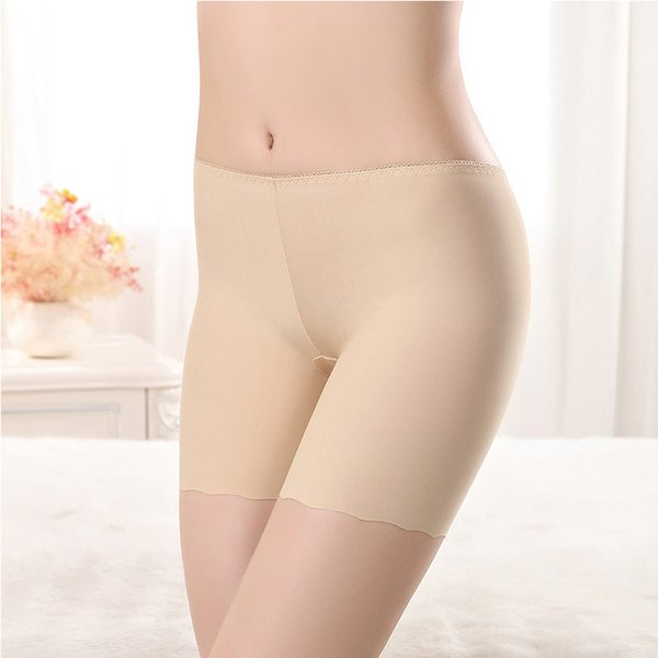 New Women Elastic Ice Silk Leggings Waist Safety Seamless Anti-light Solid Underwear Shorts Pants Sexy Leggings Boxer Briefs Underpants