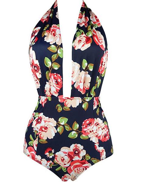 1set Sexy One Piece Swimsuit bikini Wholesale Latest Floral Printed Swimwear Women Swimming Suits Bathing Swim Wear