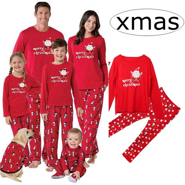 Christmas Pjs.Ins Red Merry Family Matching Christmas Pajamas Pjs Sets Kids Adult Xmas Sleepwear Nightwear Clothing Family Casual Santa Clothes Set Kids Matching