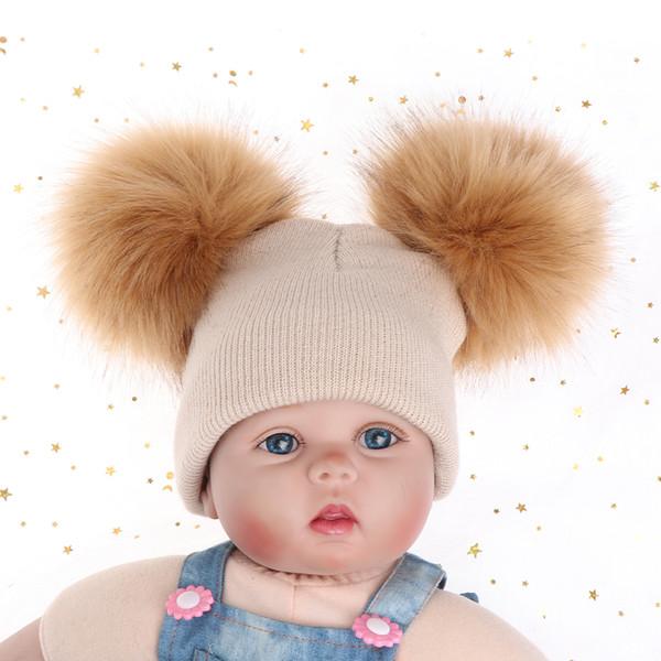 5516f4f1ee6 2018 Cute Children Boy girl Winter Warm Knit Beanie Hat Winter Hat Double  Pompom Hats Fur