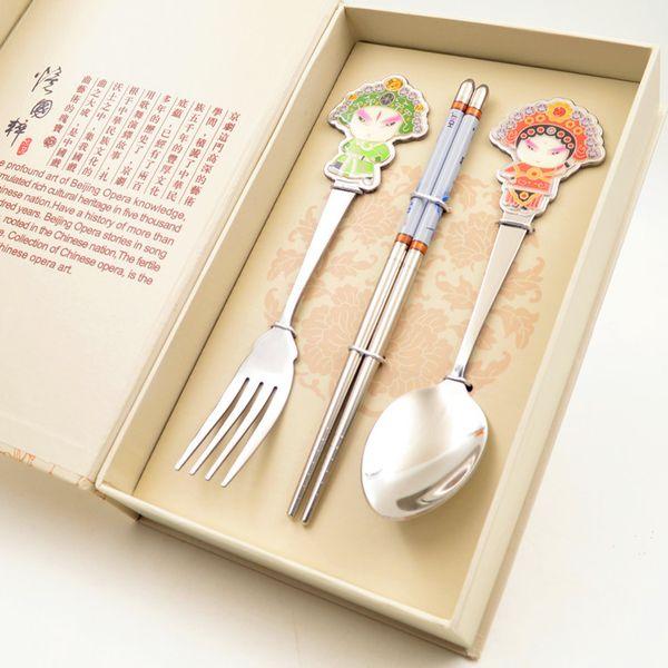 Ópera de Pekín máscara vajilla artesanía popular destacados regalos chinos comercio exterior tenedor palillos cuchara personajes de dibujos animados lindo