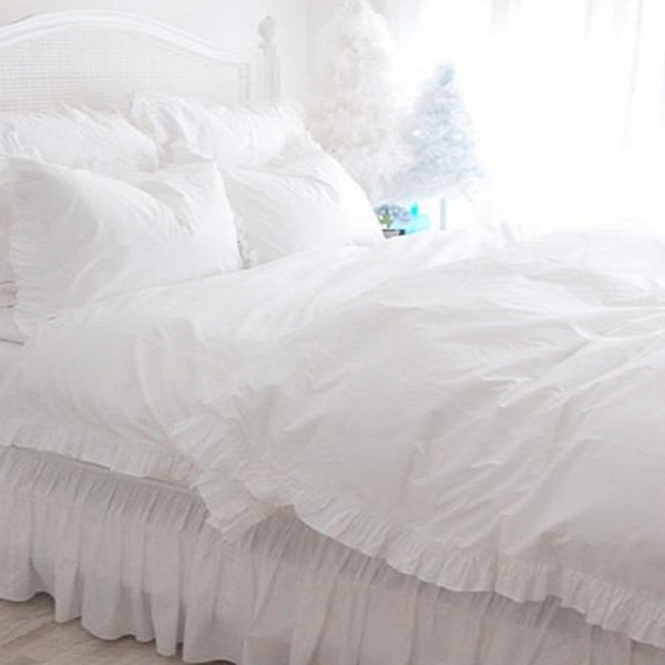 Completo branco ruffle lace bedding set luxo princesa cama cetim broca de algodão capa de edredão elegante colcha lençol fronha