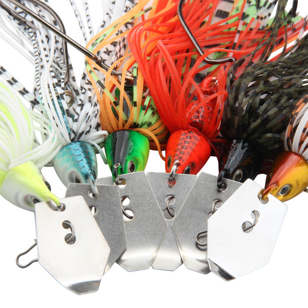 RoseWood 4pcs/Lot, 6 Colors, 14g Lead Jig Head With Metal Spoon Soft Elastic Silicone Skirt Spinner Bait Bass Fishing Lure Hard Baits