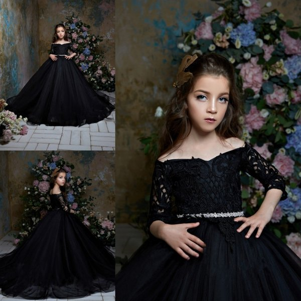 Pentelei 2019 Black Flower Girl Dresses For Weddings Off The Shoulder Long Sleeves Lace Little Kids Baby Gowns Cheap Vintage Communion Dress