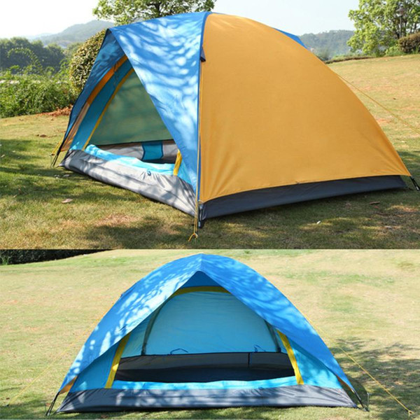 top popular 2 Person Tents Camping Tents Double Layer Waterproof Windproof Outdoor Tent For Hiking Fishing Hunting Beach Picnic Party New 2021
