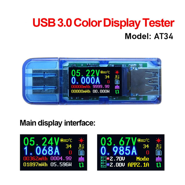 USB C Digital Voltmeter Multimeter Amperemeter Strom Leistungsmesser Tester Neu