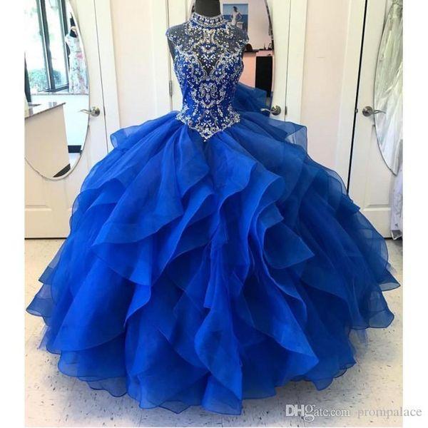 Doce 16 Ano Royal Blue Red vestido de Baile Vestidos Quinceanera 2019 vestido debutante 15 anos de Jóia Do Pescoço Vestido de Baile Para A Festa de Vestido Formal