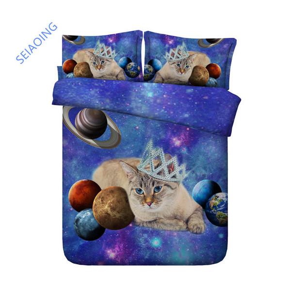 3D bedding set queen animal cat comforter/duvet cover twin size bed set for kids bedroom decor blue galaxy dog home textile king