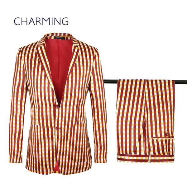 plaid suits for sale High-quality two-button plaid printing men's suits new suit for men's designer suits