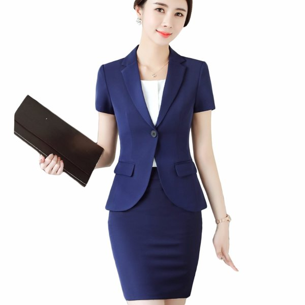 Women Summer SKIRT suits For Office Lady New Slim Blazers With Skirt Business Two Piece Set 2018
