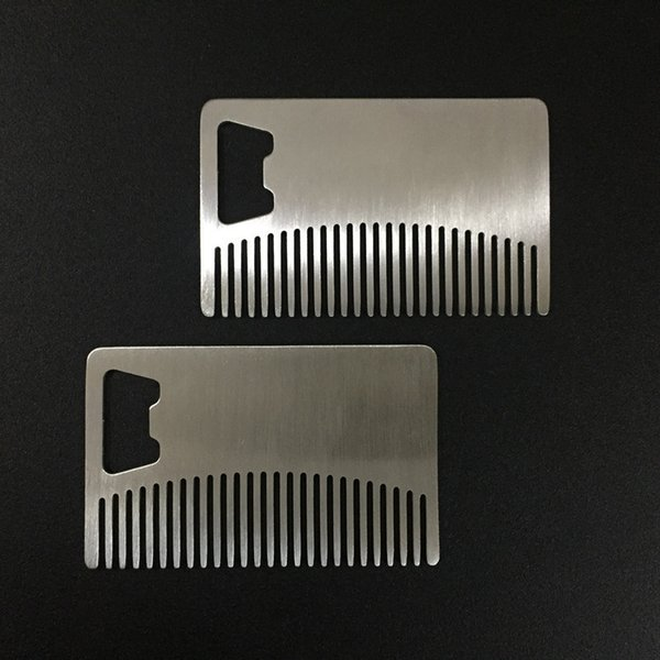 Professional Men's Mustache Comb Anti Static Stainless Steel Beard Comb Can Be Portable Bottle Opener fast shipping F1664