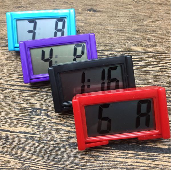 Interior Auto Painel Do Carro Mesa Relógio Digital LCD Tela Auto-adesiva Bracket Relógio de Carro de Plástico Mini Relógio de Tempo Com Bateria