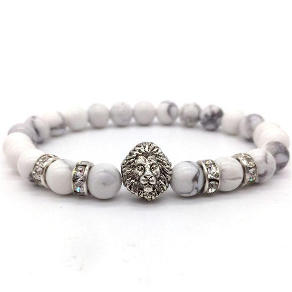 2018 New Fashion Vintage Charm Bracelet Lion Head 8mm Stone Beads Bracelet Jewelry For Man Or Women gift