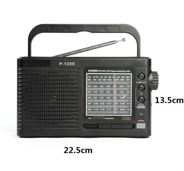 Nagelneuer großer tragbarer Radioempfänger mit 13 Bands FM / AM / MW / SW1-10 Radio mit eingebautem Lautsprecher-hohem Empfindlichkeits-Geschenk für altes
