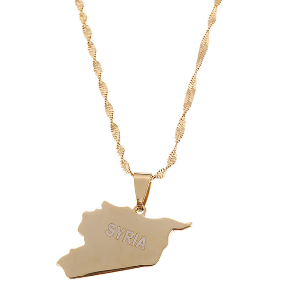 stainless steel stainless steel syria map flag gold color charms pendant syrians jewellery middle east jewelry