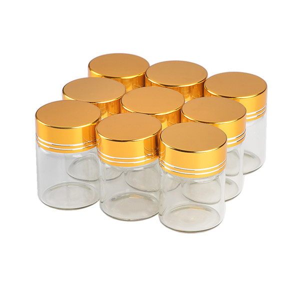 30*43mm 24pcs 15ml Glass Bottles Aluminium Screw Golden Cap Empty Transparent Clear Liquid Gift Container Wishing Bottle Jars