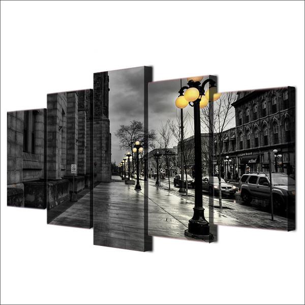 5 pannelli moderni HD stampa su tela dipinto nero bianco Wall Art London City Streetscape (senza cornice / con cornice)
