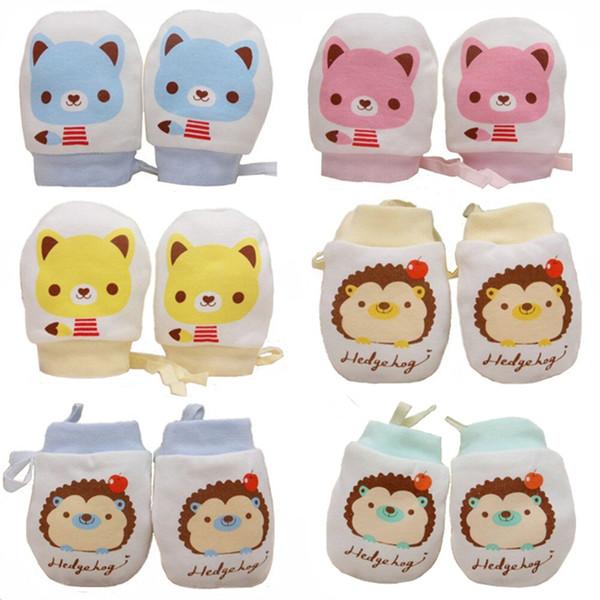 0-6 Monate 6 Paare Baby Jungen Mädchen Baumwolle Keine Kratzer Handschuhe Niedliche Kordelzug Einstellbare Unisex Tier Handschuhe für Kleinkinder