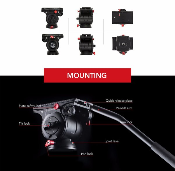 IFOOTAGE Wild Bull T5 Aluminum Legs Professional Tripod Stand with IFOOTAGE KOMODO K5 Fluid Head for GH5 5D A7S DSLR Camera Rig