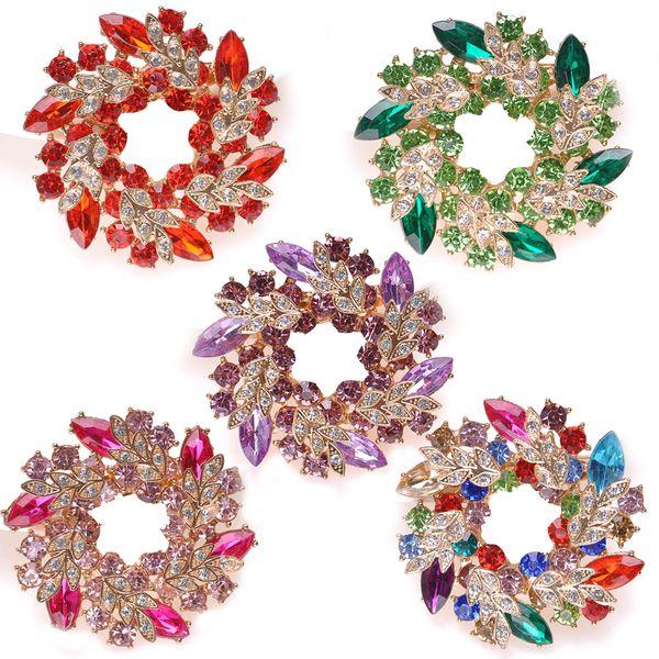 Бесплатный DHL женщин цветочный венок брошь контактный ювелирные изделия фантазии старинные горный хрусталь Bling Кристалл Bauhinia цветок букет брошь контактный 7 стилей B536SF