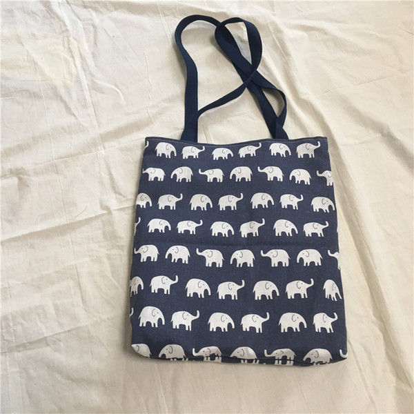 YILE Cotton Linen 2 caras Eco Shopping Bolso de hombro Tote Blue Whale and Elephant 8530-5