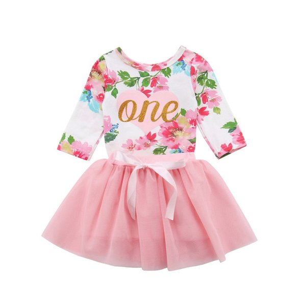 New Casual Kids Lovely Clothes Sets Toddler Baby Girls Floral Printed Long Sleeve T-shirts +Tulle Tutu Skirts 2Pcs Cute Girl Set